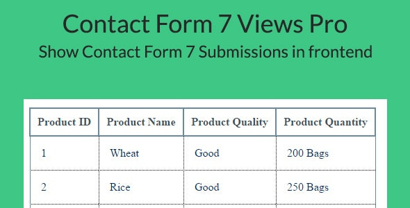 Contact Form 7 Views Pro -Drag & Drop Form Submissions View builder for Contact Form 7 - CodeCanyon Item for Sale