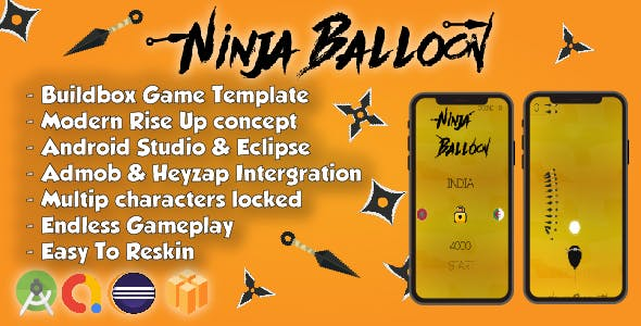 Ninja Balloon - Android Studio & Eclipse & Buildbox Game Template