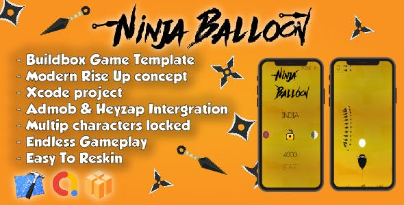 Ninja Balloon - Xcode Project & Buildbox Game Template - CodeCanyon Item for Sale
