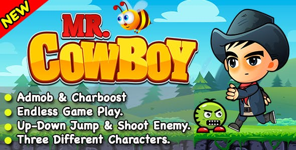 Mr CowBoy + Endless Running and Shooting Game For IOS