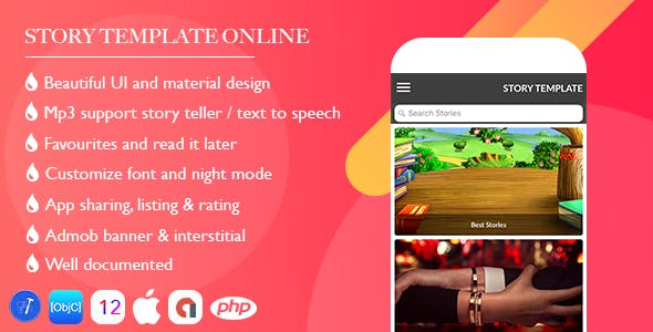 Online Story Template for iOS with PHP Admin