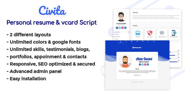 Civita - Personal Resume, Vcard & Profile Script