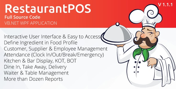 RestaurantPOS - VB.NET WPF Application With Free ASP.NET Web extension - CodeCanyon Item for Sale