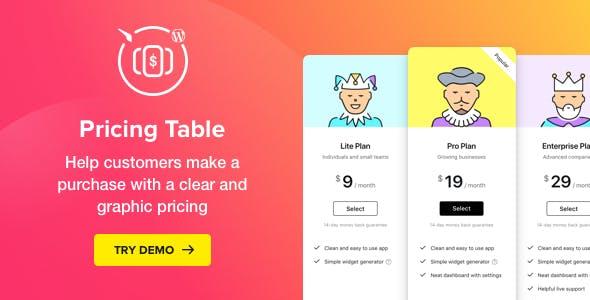 WordPress Pricing Table Plugin - CodeCanyon Item for Sale