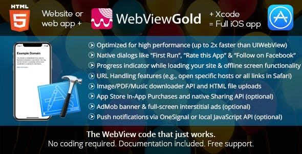 WebViewGold for iOS – WebView URL/HTML to iOS app + Push, URL Handling, APIs & much more!        Nulled