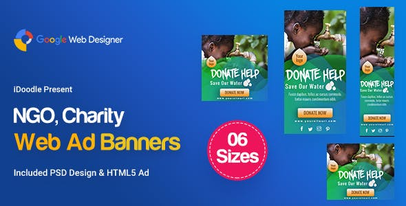 C34 - NGO, Charity Banners HTML5 Ad - GWD & PSD
