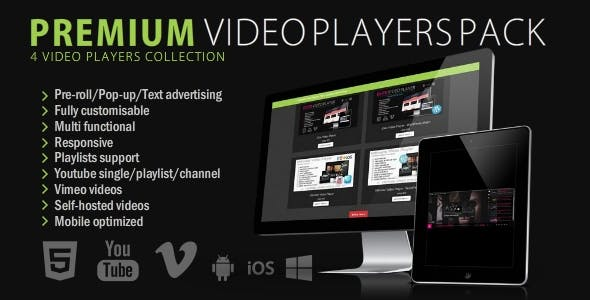Mega Pack 6 Video Players - Wordpress & HTML