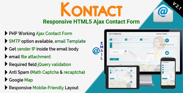 Kontact - Responsive HTML5 Ajax Contact Form