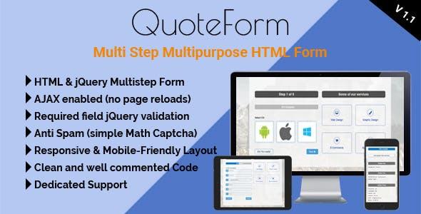 QuoteForm - Multi Step Multipurpose HTML Form