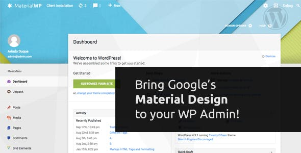 Material WP - Material Design Dashboard Theme        Nulled