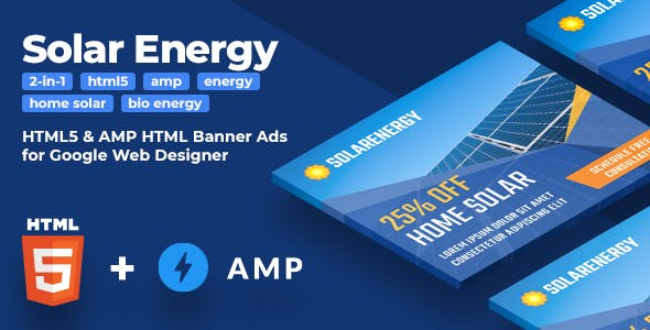 Solar Energy - HTML5 & AMP Animated Banners (2-in-1)
