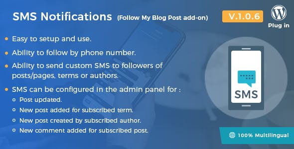 SMS Notifications - Follow My Blog Post add-on