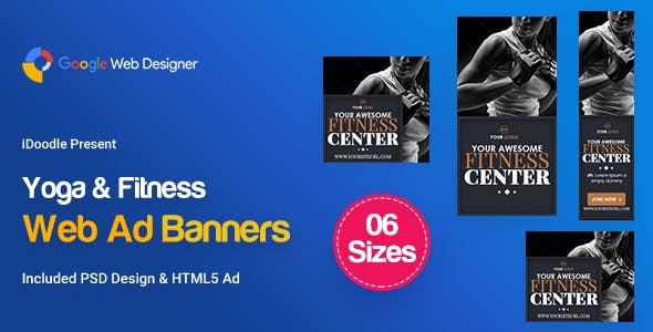 C28 - Yoga & Fitness Banners HTML5 - GWD & PSD