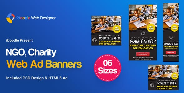 C35 - NGO, Charity Banners HTML5 Ad - GWD & PSD - CodeCanyon Item for Sale