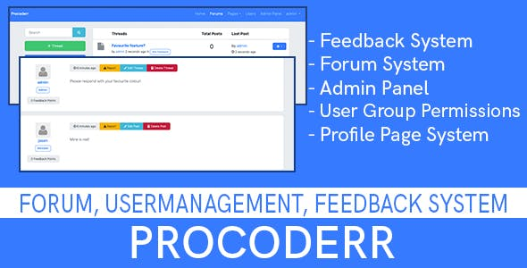 Procoderr - Forum, User Management and Feedback System - Built using Laravel