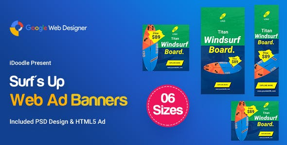 C38 - Surf's Up HTML5 Banners Ad - GWD & PSD