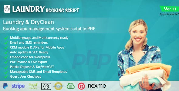 Laundry booking and management script - CodeCanyon Item for Sale