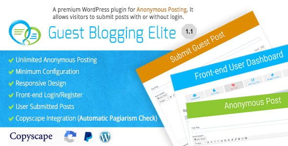 Guest Blogging Elite - Anonymous Post Plugin