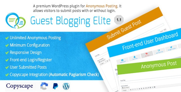 Guest Blogging Elite - Anonymous Post Plugin - CodeCanyon Item for Sale