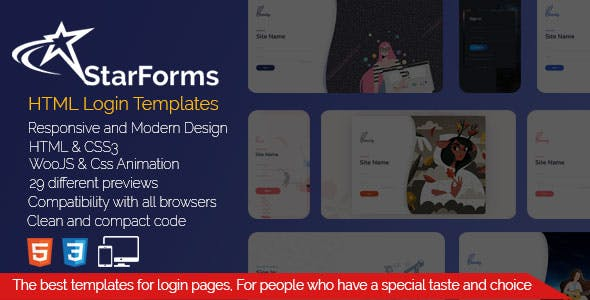 StarForms - Creative and Modern Login Template Package