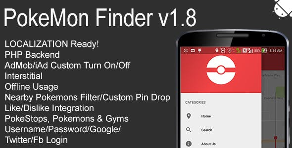 PokeMon Finder Full Android Application v1.8