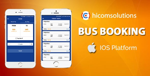 Blue Bus Ticket Booking - iOS App Template