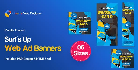 C39 - Surf's Up HTML5 Banners Ad - GWD & PSD