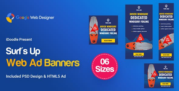 C40 - Surf's Up HTML5 Banners Ad - GWD & PSD