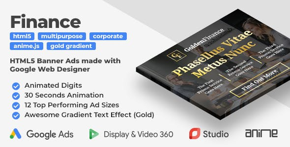 Golden Finance - Animated HTML5 Banner Ad Templates (GWD)