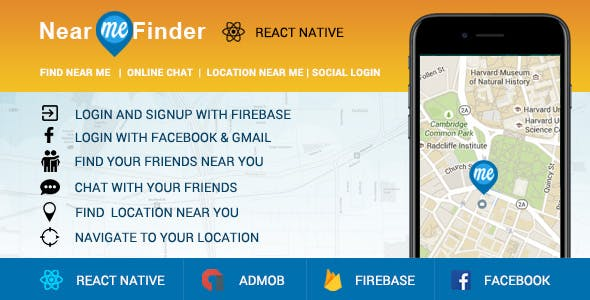 Near Me App - React Native Code - Login with Facebook, Chat, Distance Meter, Firebase, Admob and