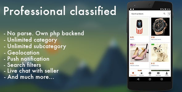 Professional classified with chat Android