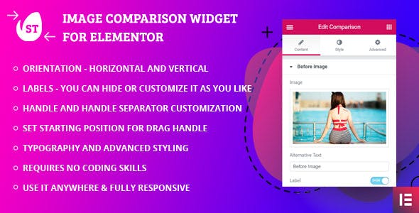 Image Comparison Widget by SThemes for Elementor Page builder