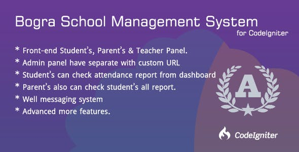 Bogra School Management System for CodeIgniter