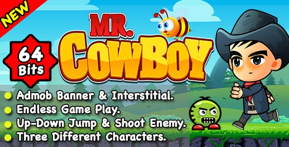 Mr CowBoy + Endless Running and Shooting Game + Ready For Publish + Android
