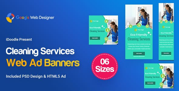 C42 - Cleaning Services Banners GWD & PSD
