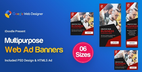 C43 - Multipurpose, Business, Startup Banners GWD & PSD - CodeCanyon Item for Sale