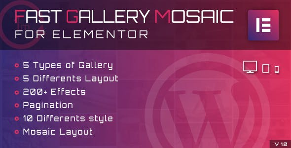Fast Gallery Mosaic for Elementor WordPress Plugin