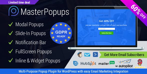 Master Popups - WordPress Popup Plugin for Email Subscription        Nulled