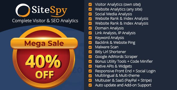 SiteSpy - The Most Complete Visitor Analytics & SEO Tools        Nulled