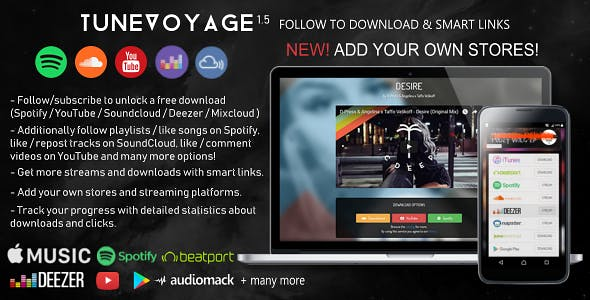 TuneVoyage - Follow to Download & Smart Links (SoundCloud/Spotify/YouTube/Deezer/Mixcloud)