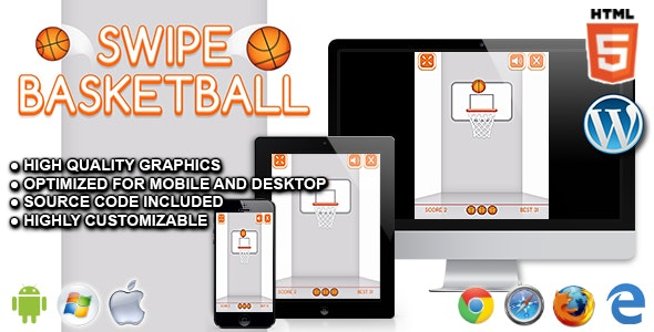 Swipe Basketball - HTML5 Sport Game - CodeCanyon Item for Sale