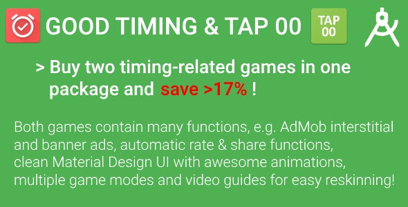 Timing Package - 2 Games with AdMob & Video Guides for Reskinning (Save >17%!) - CodeCanyon Item for Sale
