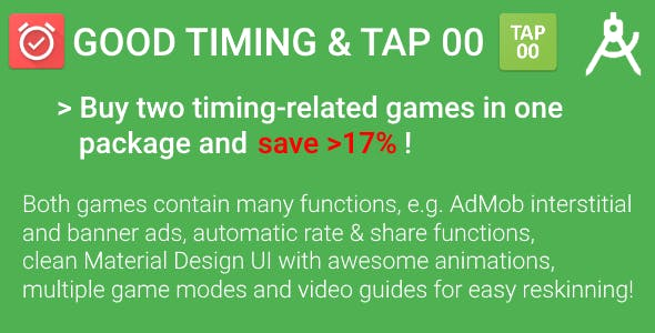 Timing Package - 2 Games with AdMob & Video Guides for Reskinning (Save >17%!)