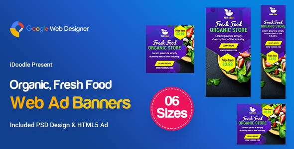 C48 - Organic, Fresh Food Banners GWD & PSD
