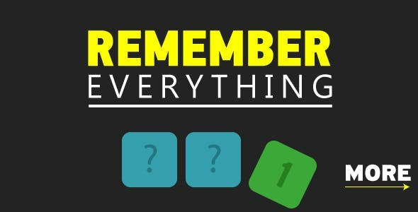 Remeber everything - HTML5 Game. Construct 2. AdSense ready. Mobile