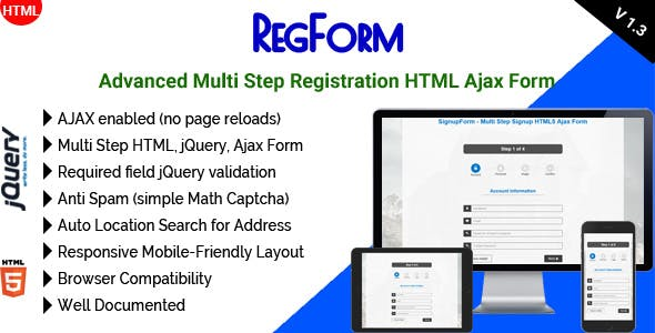 RegForm - Advanced Multi Step Registration HTML Ajax Form