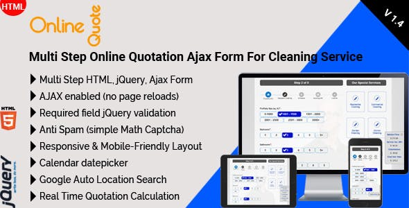 Online Quote - Multi Step Online Quotation Ajax Form For Cleaning Service - CodeCanyon Item for Sale