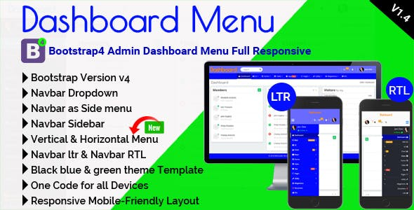 Dashboard Menu - Bootstrap4 Admin Dashboard Menu Full Responsive