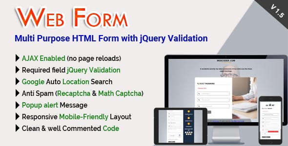 Web Form - Multi Purpose HTML Form with jQuery Validation - CodeCanyon Item for Sale