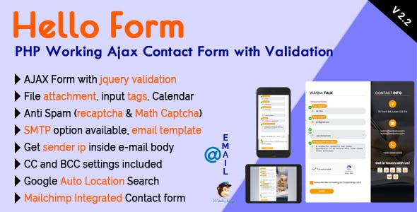 Hello Form - PHP Working Ajax Contact Form with Validation by mgscoder